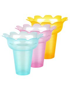 Yocup 16 oz Assorted (3 Colors) Flower Shaped Snow Cone Cup - 1 case (200 piece)