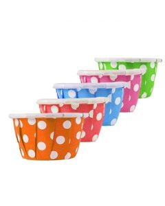 Yocup 0.5 oz Assorted Dotted Paper Souffle / Portion Cup (Blue/Green/Pink/Orange/Red) - 1 case (5000 piece)