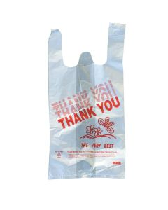 "Generic ""Thank you"" Plastic T-Shirt Bag - Small  - 1 case (900 piece)"