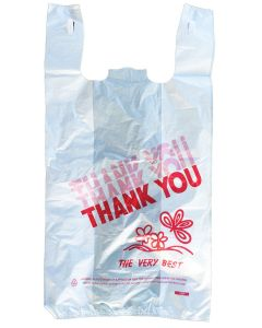 "Generic ""Thank you"" Plastic T-Shirt Bag - Large - 1 case (400 piece)"