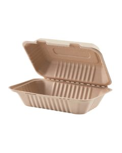 "Yocup 9"" x 6"" x 3"" Kraft / Natural Brown Compostable Sugarcane Bagasse Hinged-Lid Container - 1 case (200 piece)"