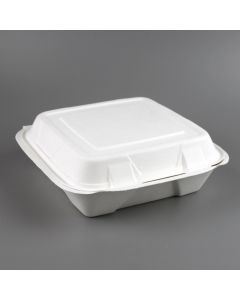 "Yocup 9"" x 9"" x 3.25"" White Compostable Sugarcane / Bagasse Hinged-Lid Take Out Container, style 2 - 1 case (200 piece)"