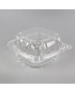 "CJ 6'' x 6"" x 2 5/8"" 1-Compartment Clear PET Plastic Hinged-Lid Take Out Container - 1 case (400 piece)"