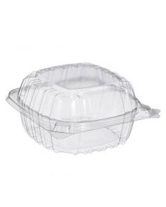 "Dart 5 1/4"" x 5 3/8"" x 2 5/8"" - 1 Compt Clear OPS Plastic Hinged-Lid Container - 1 case (500 piece)"