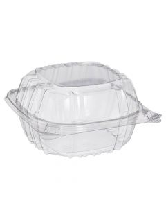 "Dart 6 x 5 3/4"" x 3"" - 1 Compt Clear OPS Plastic Hinged-Lid Container - 1 case (500 piece)"