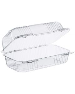 "Dart 9"" x 5 3/8"" x 3 1/2"" - 1 Compt Clear OPS Plastic Hinged-Lid Container - 1 case (250 piece)"