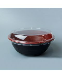 Yocup 24 oz Black and Red Microwavable Plastic Bowl With Clear Lid Combo - 1 case (300 set)