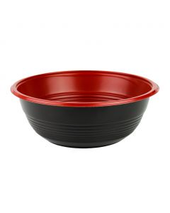 Yocup 32 oz Black and Red Microwavable Teriyaki Bowl - 1 case (300 ct)