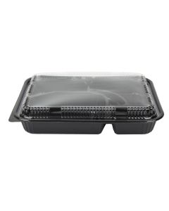 Yocup #306 Black 5-Compartment Bento Box - 1 case (200 piece)