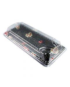 "TZ Size 01 Sakura Pattern Sushi Tray w/Clear Lid Combo (8.75"" x 3.63"" x 1.7"") - 1 case (350/set)"