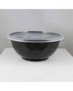 TL 32 oz Black Diamond Pattern Plastic Bowl w/ Clear Lid Combo - 1 case (150 set)