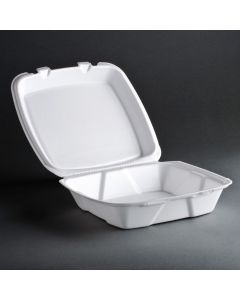 "TL 8'' x 8"" x 2.5"" White Foam Hinged-Lid Take Out Container - 1 case (200 piece)"