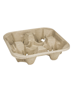 Karat 4 Cup Molded Fiber Holder / Carrier - 75 piece bag