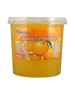 Ohsweet Orange Flavored Topping Boba 7 lb Jar - 1 case (4 jars)