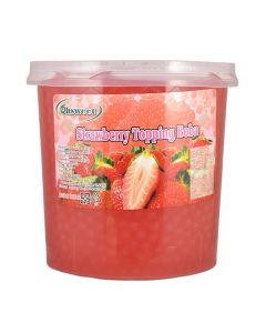 Ohsweet Strawberry Flavored Topping Boba 7 lb Jar - 1 case (4 jars)