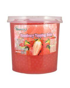Ohsweet Strawberry Flavored Topping Boba 7 lb Jar - 1 case (4 jars)