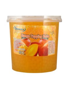 Ohsweet Mango Flavored Topping Boba 7 lb Jar - 1 case (4 jars)