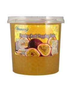 Ohsweet Passion Fruit Flavored Topping Boba 7 lb Jar - 1 case (4 jars)