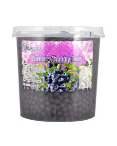 Ohsweet Blueberry Flavored Topping Boba 7 lb Jar - 1 case (4 jars)