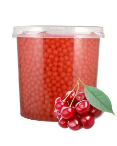 Ohsweet Cherry Flavored Toppping Boba  7 lb Jar - 1 case (4 jars)