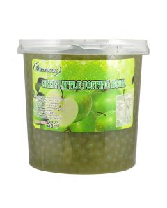 Ohsweet Green Apple Flavored Topping Boba 7 lb Jar - 1 case (4 jars)