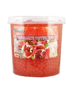 Ohsweet Pomegranate Flavored Topping Boba 7 lb Jar - 1 case (4 jars)