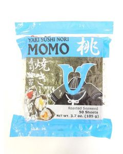 MARUKYO Roasted Seaweed (Yaki Sushi Nori Momo), Half Cut - 100 sheets bag (3.7 oz/105g)