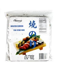 OHSWEET Roasted Seaweed (Yaki Sushi Nori), Half Cut - 100 sheets bag (4.94 oz/140g)