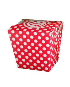 Yocup 16 oz Polka Dot Red Microwavable Paper Take Out Container - 1 case (400 piece)