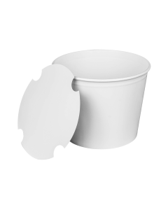 "KR 85 oz. Paper Food Bucket w/paper lid (7.4"" rim), White - 180 sets/cs"