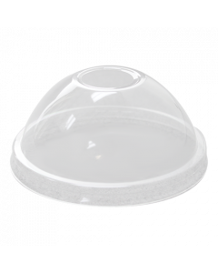 Karat Clear Dome Lid w/X-Slot for 95mm PP Plastic Cup (with hole)  - 2000/cs