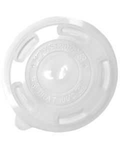 Karat 25/33 oz Clear Plastic Flat Lid with X-Slot For Jumbo PP Cups (120mm) - 1 case (1000 piece)