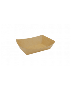 "KR 2 lb (5.7""x4""x1.6"") Brown Food Tray - 1000/cs (4/250)"